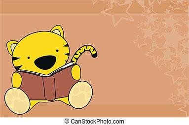 tiger baby reading cartoon wallpaper in vector format