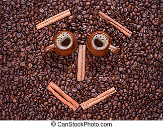 coffee beans in the form of a smiling face