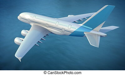 Airplane flies over the sea, loop-ready 3d animation