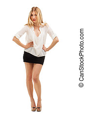 Full length portrait of a confident young woman. Isolated on...
