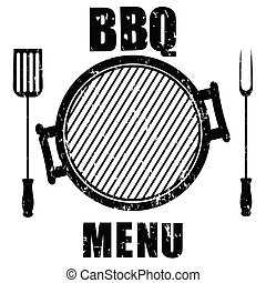 Grunge grill menu isolated on white background, vector...