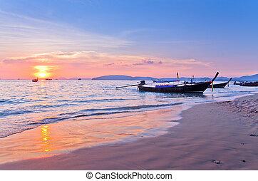 Sunset with sea and islands at Aonang, Krabi, Thailand