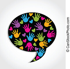 Speech hands and hearts logo vector illustration