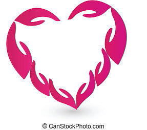 Hands in pink heart logo vector