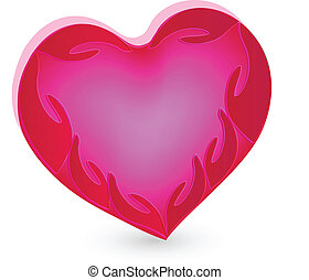 Hands pink humanity heart logo vector