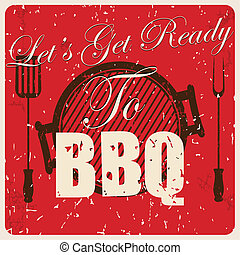 Vintage BBQ card, vector illustration