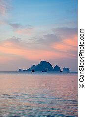 Sunrise with sea and islands at Aonang, Krabi, Thailand