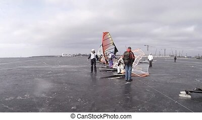 starting line of the race winter wi - snowkiting,...