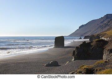 East Iceland - Rural beach coastline in east Iceland
