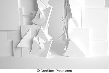 corredor, branca, sala, 3D, espaço, Vário,...