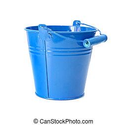 bonito, coloridos, baldes, isolado, branca, fundo