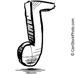 Music note hand drawing cartoon sketch illustration in...