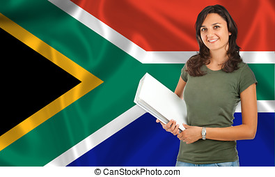 Female student over South African flag - Young female...
