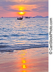Sunset with sea and islands at Aonang, Krabi, Thailand