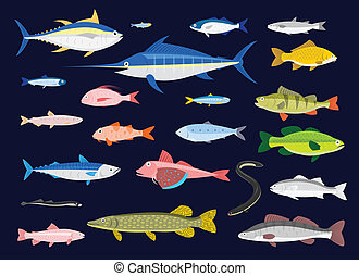 Edible Fishes - 22 Edible Fishes in simplified flat vector...