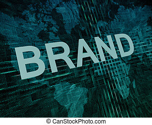 Brand text concept on green digital world map background