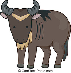 Wildebeest - Illustration of a Wildebeest Looking Curiously...