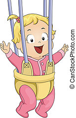 Baby Girl Door Bouncer - Illustration of a Baby Girl...