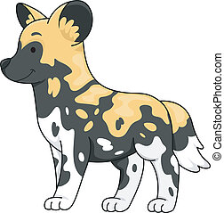 African Wild Dog - Illustration of a Cute African Wild Dog...