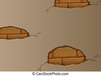 A wall with cracks - Illustration of a wall with cracks