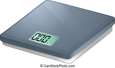 A bathroom electronic scale - Illustration of a bathroom...