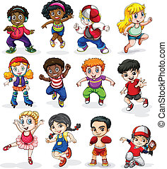 Energetic kids - Illustration of the energetic kids on a...