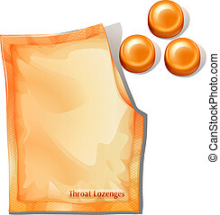 A pack of orange throat lozenges - Illustration of a pack of...