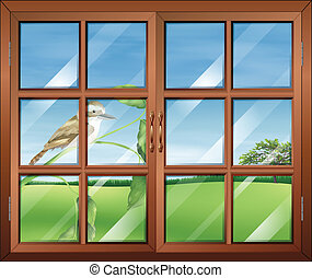 A closed window with a bird outside - Illustration of a...