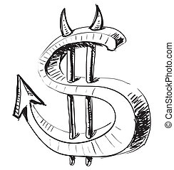 Devil money dollar icon Hand drawing cartoon sketch...