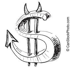 Devil money dollar icon. Hand drawing cartoon sketch...