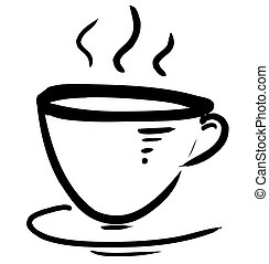Cup with steam stylized on white background Sketch vector...