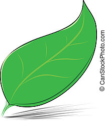 Green leaf isolated on white vector illustration - Green...