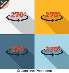 ângulo, geometria, Símbolo, sinal,  270, graus, ícone, matemática