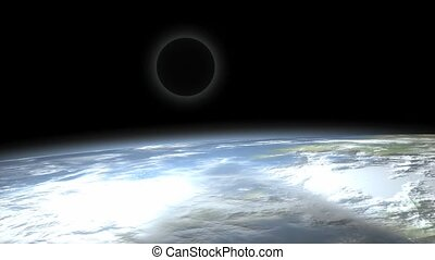 Moon eclipse view from space.