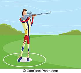 Shooter making aim - cartoon style shooter making aim with...
