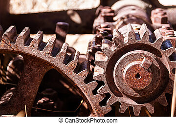 Heavy industrial gears - Close up shot of heavy duty...
