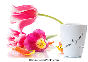 beautiful tulips in a vase with gratitude on a white...