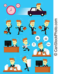 Businessman in a Hurry Busy Day - A Businessman Cartoon...