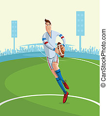 Rugby Player - cartoon style rugby player in vector