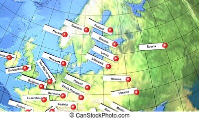 Europe country names pin on a globe. - Europe country names...