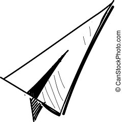 Paper plane icon isolated on white. Hand drawing sketch...