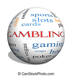 Gambling 3D sphere Word Cloud Concept with great terms such...