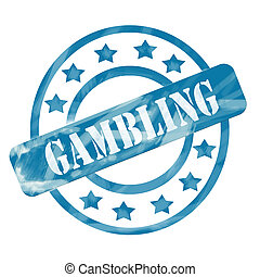 Blue Weathered Gambling Stamp Circles and Stars