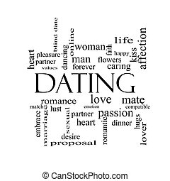 Dating Word Cloud Concept in black and white with great...