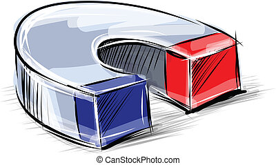 Glossy polished magnet sketch vector illustration - Glossy...