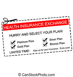 Health Insurance Exchange Coupon Concept - A red, white and...