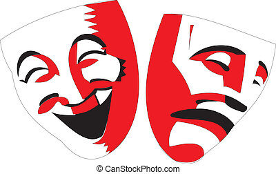 Red and black theater masks on white background - Vector...