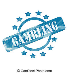 Blue Weathered Gambling Stamp Circle and Stars design
