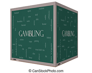 Gambling Word Cloud Concept on a 3D cube Blackboard