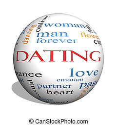 Dating 3D sphere Word Cloud Concept with great terms such as...